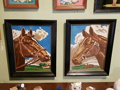 VTG Mid Century Horse Paint By Numbers Pair Framed