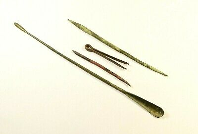 Selection of 4 Ancient Roman Bronze Medical/Dental Tools - 2nd-4th C AD