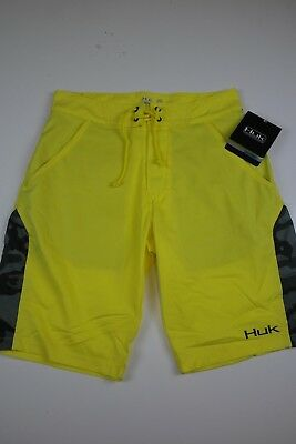 35e562c9fcfd NWT Huk Mens Performance Fishing Shorts Bright Yellow Hybrid Lite Camo