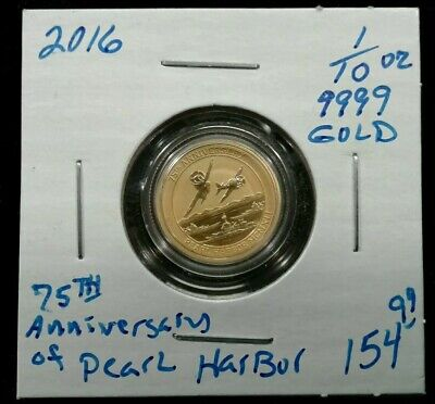 2016 .9999 Gold 1/10 Oz 75Th Anniversary Of Pearl Harbor