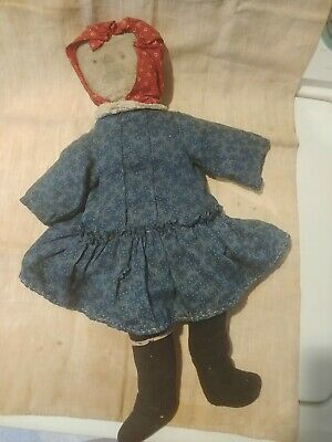 AAFA Early Doll With Indigo Blue Dress...