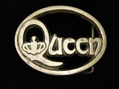 PJ03170 VINTAGE 1970s **QUEEN** MUSIC COMMEMORATIVE SOLID BRASS BARON BUCKLE