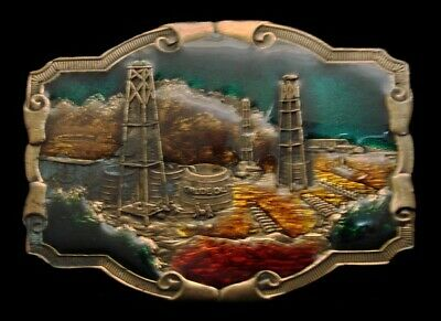 QG02143 VINTAGE 1970s  OILFIELD **STANDARD OIL DERRICKS** CRUDE OIL BELT BUCKLE