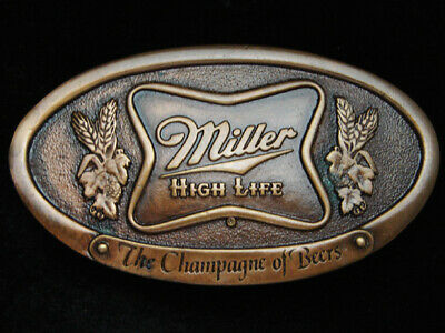 Pg29152 *Nos* Vintage 1975 **Miller High Life The Champagne Of Beers** Buckle