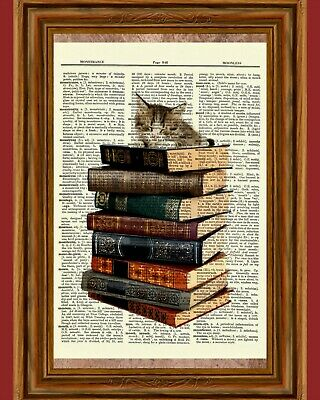 Cute Kitten on Vintage Books Dictionary Art Poster Picture Cat Tabby Antique