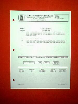 TECUMSEH 5 HP & 6 Hp Engines Models H50 Hh50 H60 Hh60 Parts Manual Issued  1989