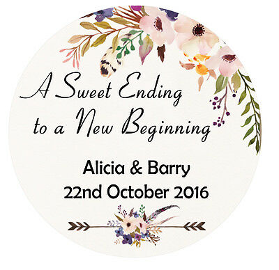 Floral Sweet Ending Wedding Stickers Thank You Personalised round gift labels