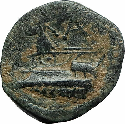 ARADOS Phoenicia Authentic Ancient 242BC Greek Coin TYCHE & ATHENA GALLEY i75664
