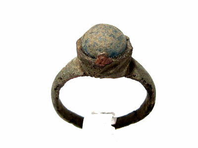 GORGEOUS BYZANTINE BRONZE RING  w/ BLUE GLASS STONE+++TOP CONDITION+++