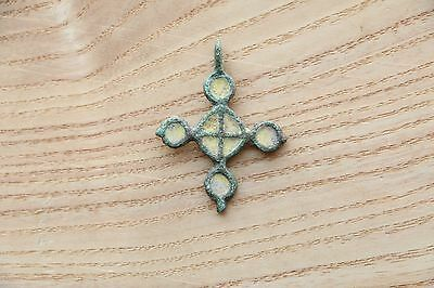 Authentic Rounded double sided VIKING Pendant cross with enamels 10-11 AD