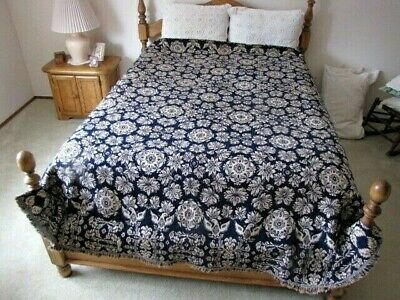 Dated 1838 Early American Blue & White Jacquard Coverlet Federal Eagles - Large!