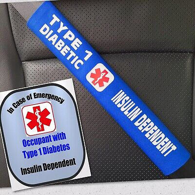 Type 1 Diabetic - Medical Alert Seat Belt Cover and Window Decal Set
