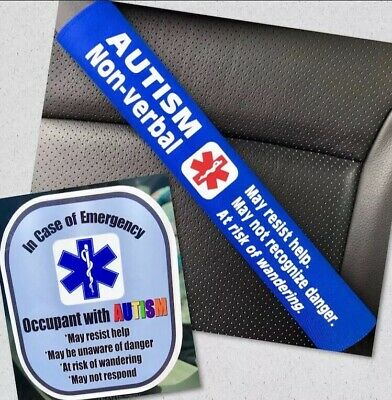 Autism Non-Verbal - Medical Alert Seat Belt Cover and Window Decal Set