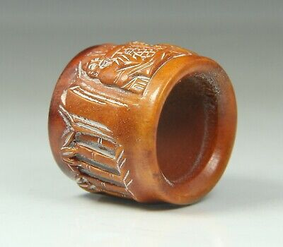 Chinese Exquisite Hand-carved old man and pine pattern Antler ring