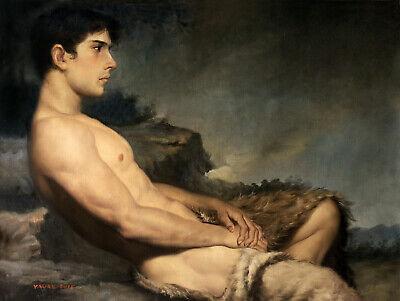 """24x32"""" Art prints canvas lying men male nude from oil painting 200 photos listed"""