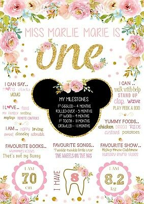 Minnie Mouse Birthday Party Decoration Floral Gold Glitter Milestone Poster 1st