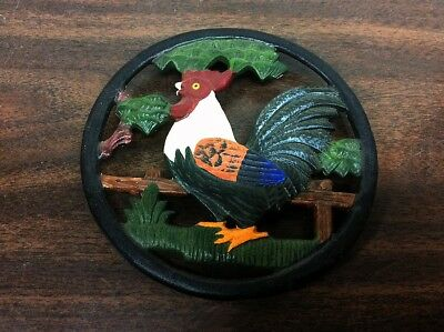 Round CAST IRON Trivet Big Rooster ~ Wall Hanging Plaque or table Hot Plate