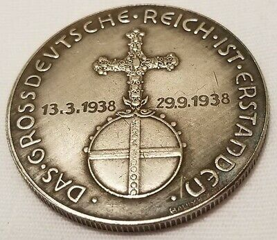 WW2 WWII German Elite coin SS Kampft Insterburg 1 Schilling  money 1938