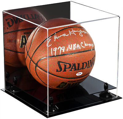 Deluxe Acrylic Full Size Basketball Display Case Mirror & Black Risers (A001-BR)