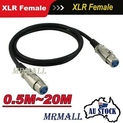 Microphone Mic Cable Audio XLR Female to Female Balanced 3 Pin Cord Plug