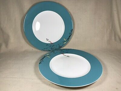 Two (2) Lenox Simply Fine Bone China CHIRP Turquoise Dinner Plate 11"