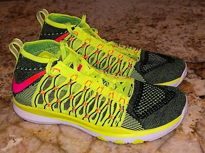 ca90280ad463 NIKE Train Ultrafast Flyknit Volt Black Pink Training Shoes Sneakers Mens  Sz 9.5