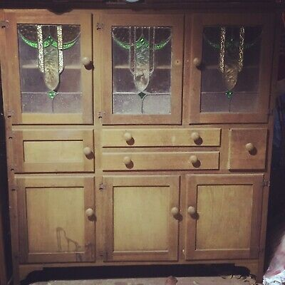 Antique Leadlight Kitchen Hutch Dresser