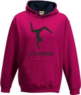 Boys Girls Kids Childs Personalised Custom Gymnastics Contrast Hoody Hoodie s1
