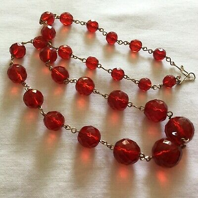 0e0018543f94 Vintage Art Deco Cherry Red Faceted Glass Beads   RolledGold Necklace  c1930 s