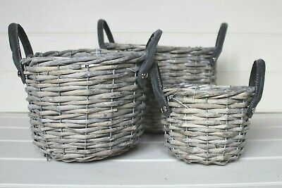 Lovely Round Woven Storage Baskets Planters With Grey Handles Lined Planters