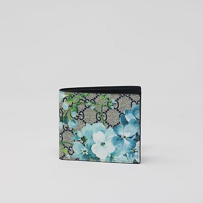 d4c44cbc7b4b8b New Gucci Mens Bloom Blue Wallet Floral GG Supreme Canvas Leather Bi Fold  Box