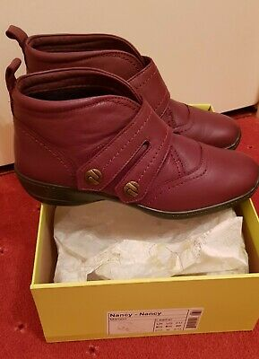 Hotter Nancy Maroon Leather Boots Size 6.5 Std Immaculate Condition