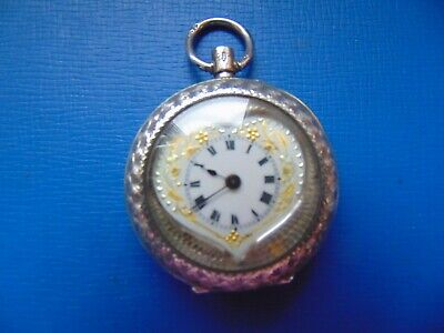 Antique Solid Silver Heart Shaped Ladies Fob Watch