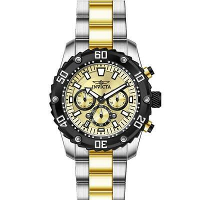 Invicta 22519 Men's Pro Diver Chronograph Gold Dial Two Tone Yellow Gold B Watch