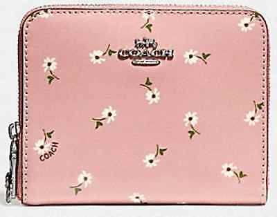 7353c3a4543f Coach F30184 NEW Small Zip Around Wallet Patent Leather Daisy Print Pink NWT