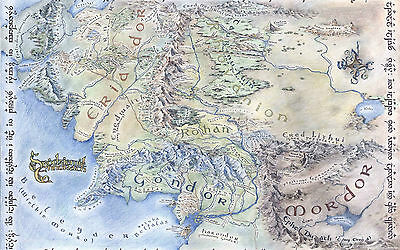 A4 Poster - Middle Earth Map (Lord of the Rings Hobbit DVD Blu-Ray Picture Art)