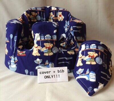 handmade seat cover with harness holes bumbo bib blue teddies baking