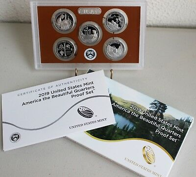 2019 S Proof America the Beautiful Quarters US Mint ATB 5 Coins Box and COA