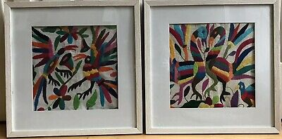Two Outstanding Contemporary Needlepoint Pieces Framed As Wall Art