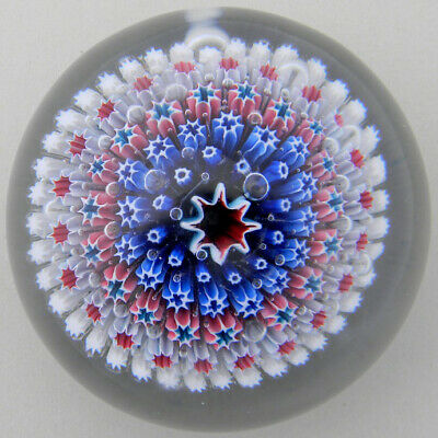 Old English Paperweight; Concentric in White Basket