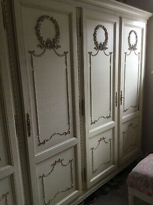 Large 5 door Crackle Glaze  French  Louis armoire,Shelves,wardrobe,Flat pack