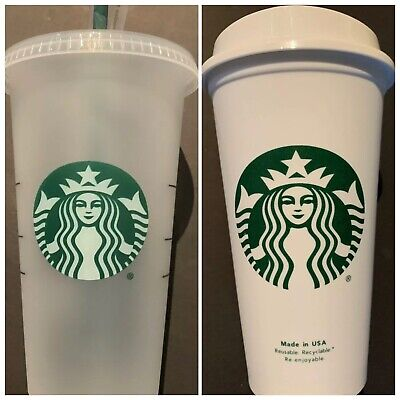 Starbucks REUSABLE Frosted COLD 24 Oz & HOT 16 Oz CUPS Combo Lot SET Fast Ship