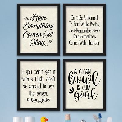 Funny Bathroom Wall Art Prints Farmhouse Decor Pictures