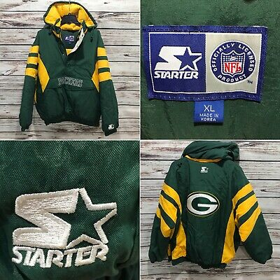 -MINT- Mens XL Green Bay Packers Starter Jacket Pullover Half Zip Removable  Hood e9e6cb09c