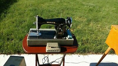 Vintage White Rotary Sewing Machine  E-6354, Foot pedal and comes with case