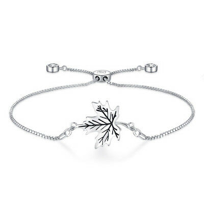 Bracelet Maple Leaf Charm Bolo Adjustable White Gold Plated Cubic Zirconia Girl
