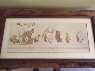 Boris O'Klein Dirty Dogs of Paris vintage Framed Etching 'The Giddy Cat'
