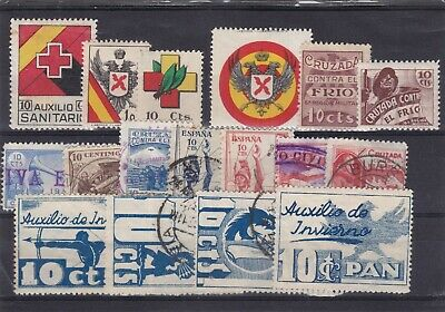 0158 Spain ( civil war) Nice selection of local stamps see scan