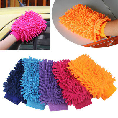1X Super Mitt Microfiber Car Wash Cleaning Glove Dual Sided Chenille Gloves WX