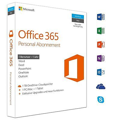 MS Office 365 Personal - 1 PC - 1 MAC - 1 Jahres Abo Microsoft Office NEU OVP